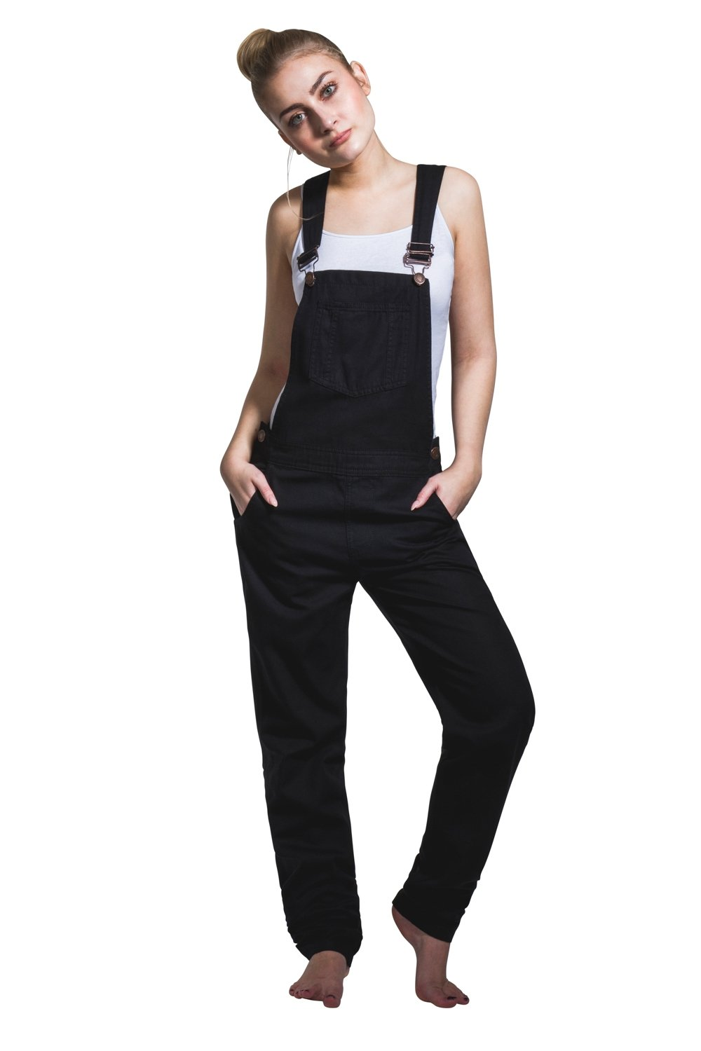 USKEES Amanda Carrot Fit Bib Overalls - Black Ladies Dungarees lightweight