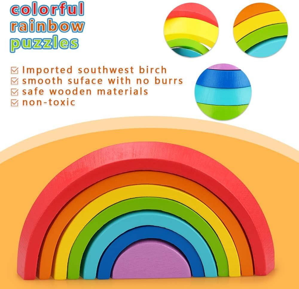 Regalo Ideal para el Desarrollo temprano de los ni/ños Tmox Juguete de Bloques de construcci/ón de arco/íris de Madera para beb/és peque/ños