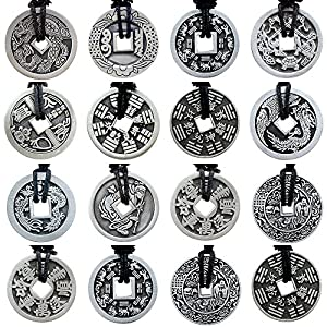 Replica Chinese ancient i-ching coin Good fortune lucky charm pewter pendant