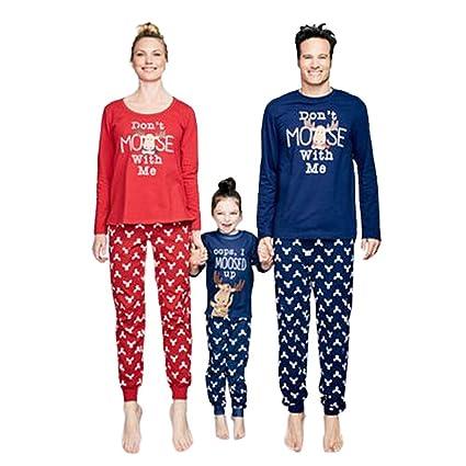 dc11bad0b12 WensLTD Matching Family Pjs XMAS Gift Pajamas 2 Pics Sets for Mum Dad Kids  (3T
