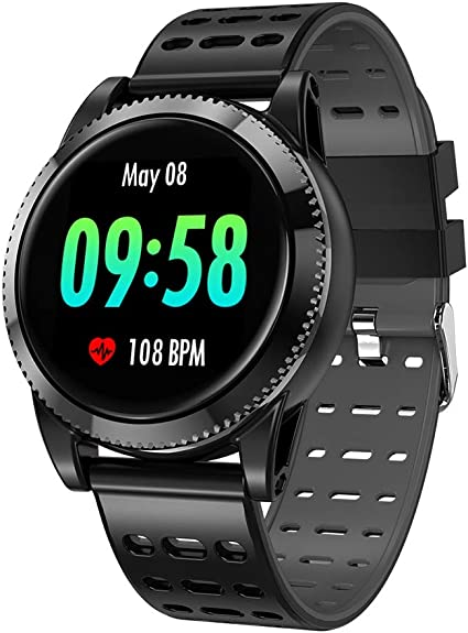 GOKOO Smart Watch for Men Women with Heart Rate Blood Pressure Sleep Monitor IP67 Waterproof Activity Tracker Notification Camera Music Control Black