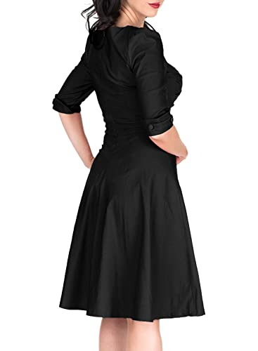 496c138953c4 Miusol Women's Retro V-Neck Half Sleeve Bridesmaid Party Swing Dress:  Amazon.ca: Clothing & Accessories