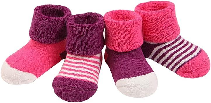 Fletion 4 Paires Chaussettes Epaissir B/éb/é Fille Enfants Chaussettes Respirant Chaude Chaussette Hiver Laine Polaire