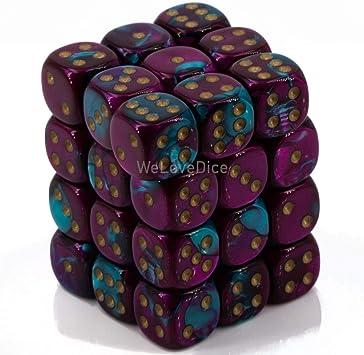 36D6 Purple//Teal//Gold Chessex CHX26849 Dice Gemini