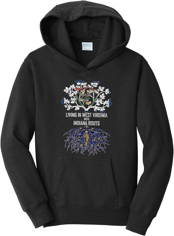 Tenacitee Girls Living in West Virginia with Indiana Roots Hooded Sweatshirt