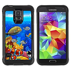 iKiki Tech / Estuche rígido - Diving Fish Tropical Blue Ocean Water - Samsung Galaxy S5 SM-G900