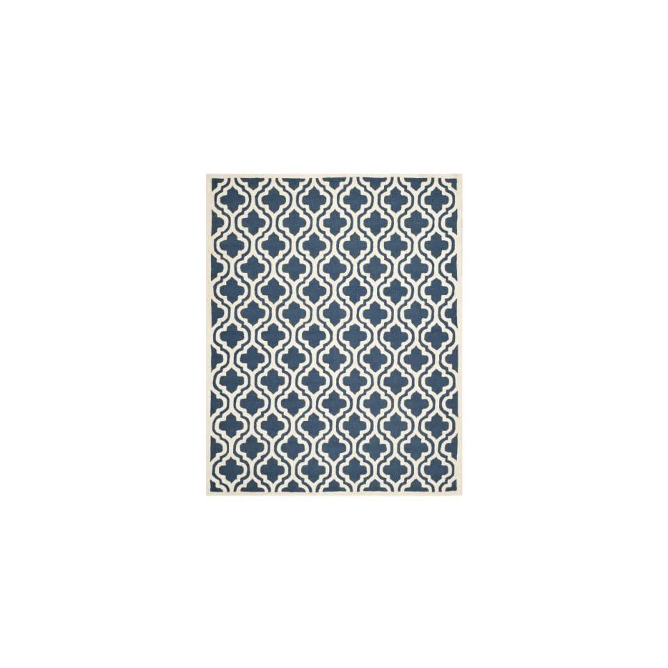 Safavieh Cambridge Collection CAM132G Handmade Moroccan Geometric Navy and Ivory Premium Wool Area Rug (6 x 9)
