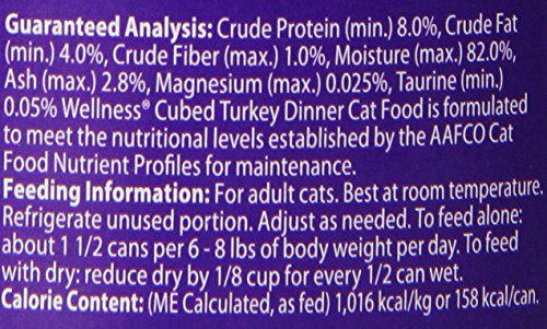 Wellness Natural Canned Grain Free Wet Cat Food, Cubed Turkey, 5.5-Ounce Can (Pack of 24)