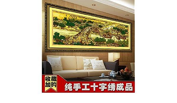 AIGUFENG bordado a mano puro en punto de cruz acabado Qingming Shanghe Figura completo bordado panorámico de 3m 6m 22m,KS2200 * 70cm: Amazon.es: Hogar