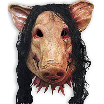 LJSHU Cabeza De Halloween Cabeza De Cerdo Máscara De Cerdo Pig Prank Peluca De Terror Masquerade