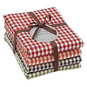 Set of 4 Fall Harvest Gingham Kitchen Towels - 28 inch