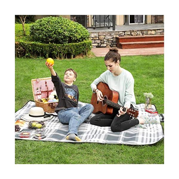 61oEn9tiqYL SONGMICS Picknickdecke, 195 x 150 cm, große Stranddecke, Campingdecke, für Outdoor, Camping, Park, Garten, Strand…