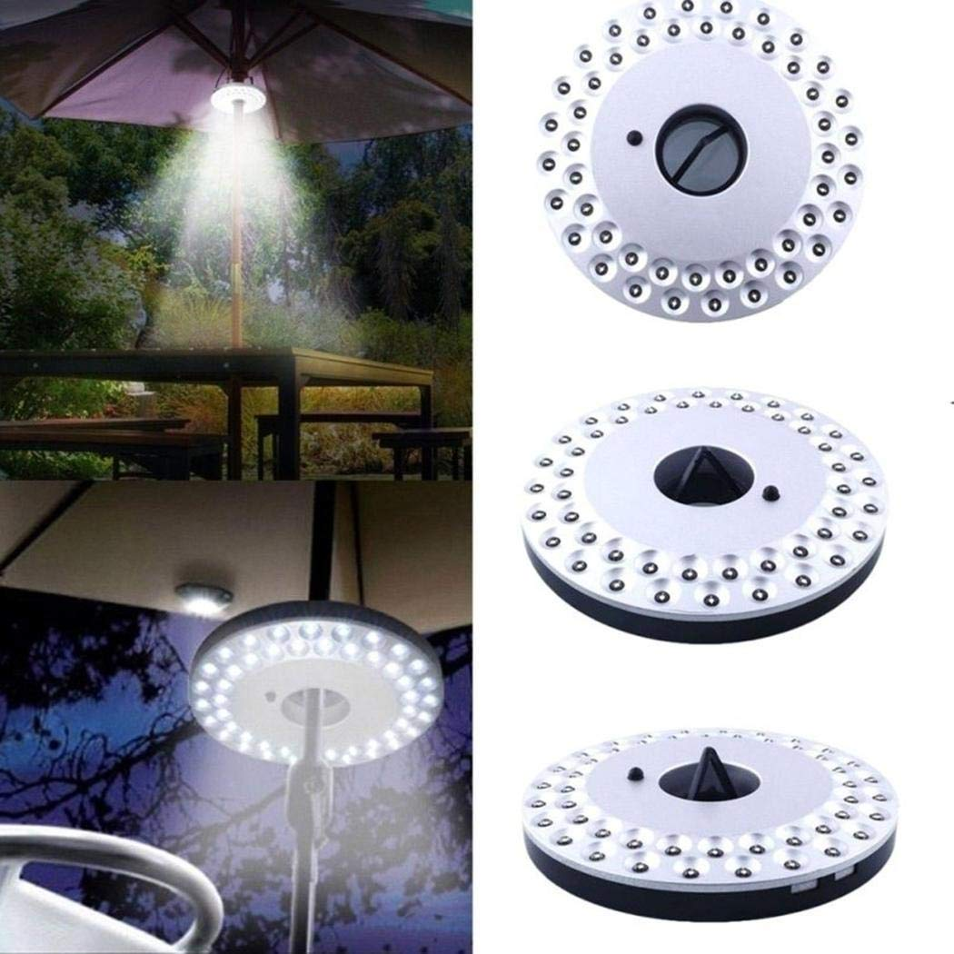 Tinffy Patio Umbrella Light 3 Brightness Modes Cordless 48 LED Lights-4 x AA Battery Operated, Umbrella Pole Light for Patio Umbrellas, Camping Tents or Outdoor Use