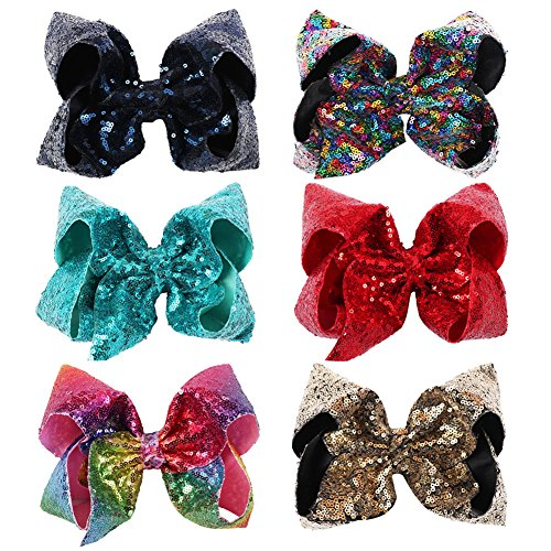 NCMAMA Sequin Ribbon Bows Set: 6-Pack Cute Hair Bows For Women & Teens & Kids| Premium Quality Handmade 7