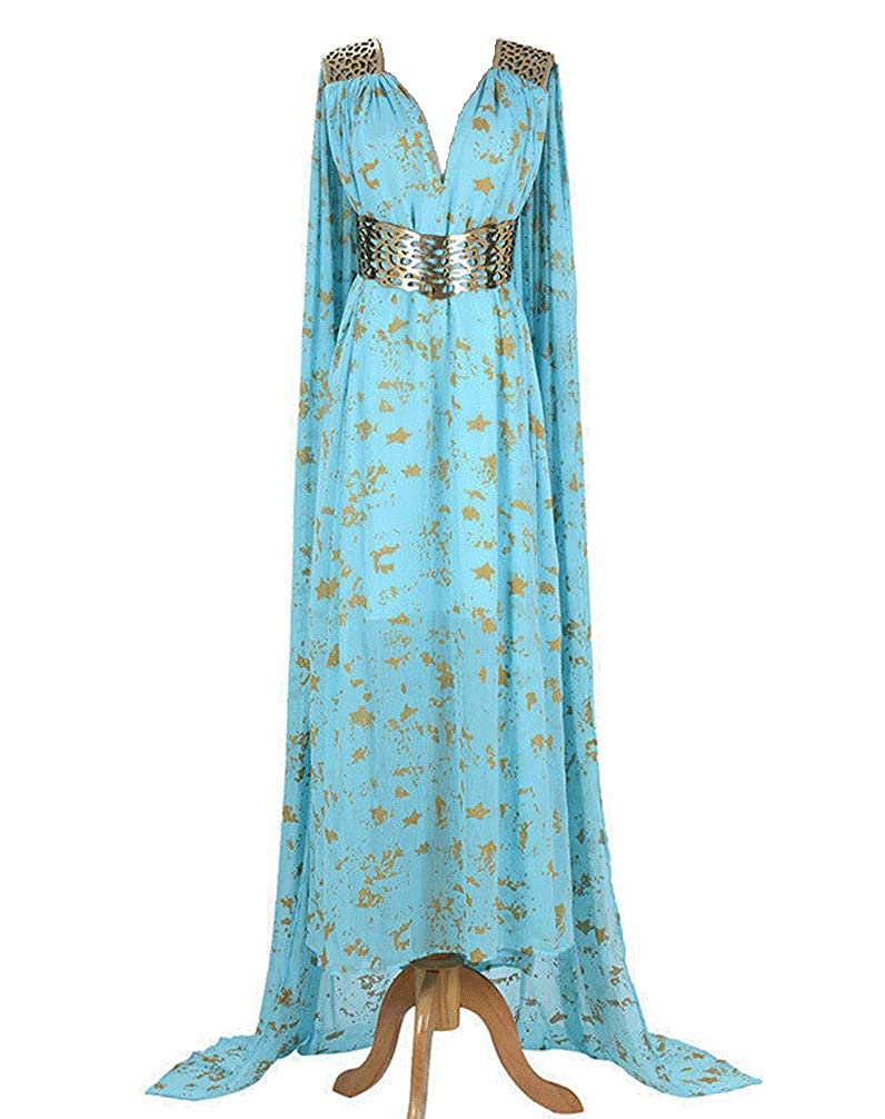 550 - Game of Thrones Daenerys Targaryen Cosplay Blue Qarth Party Dress