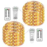 Asmader Fairy Lights 2 Pack Battery Operated String Lights, IP67 Waterproof 8 Modes Remote Timer with 50 LEDs 16.4ft Copper Wire Decor Light for Indoor/Outdoor,Patio,Garden,Party,Holiday(Warm White)