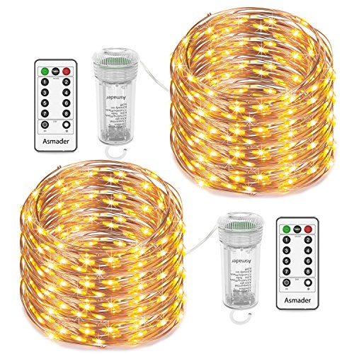 Asmader Fairy Lights 2 Pack Battery Operated String Lights, IP67 Waterproof 8 Modes Remote Timer 50LEDs 16.4ft, Copper Wire Decor Indoor/Outdoor,Patio,Garden,Party,Holiday(Warm White)