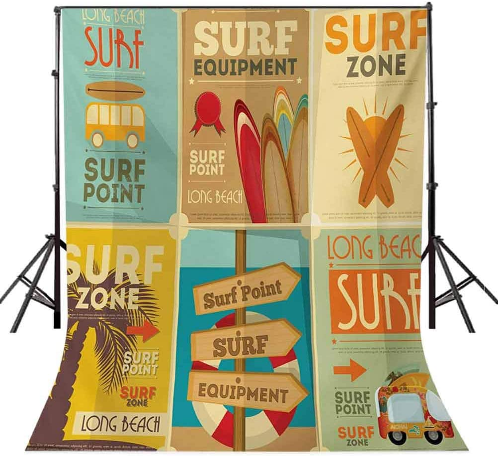 10x15 FT Photo Backdrops,Retro Posters Collection Summer Vacation Theme Hobby Water Sports California Beach Background for Baby Shower Birthday Wedding Bridal Shower Party Decoration Photo Studio