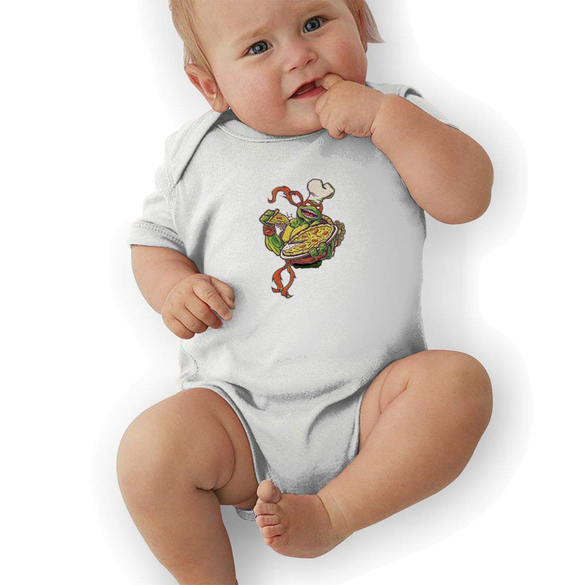 Turtle Pizza Baby Romper 0-18 Months Newborn Baby Girls Boys Layette Rompers Black
