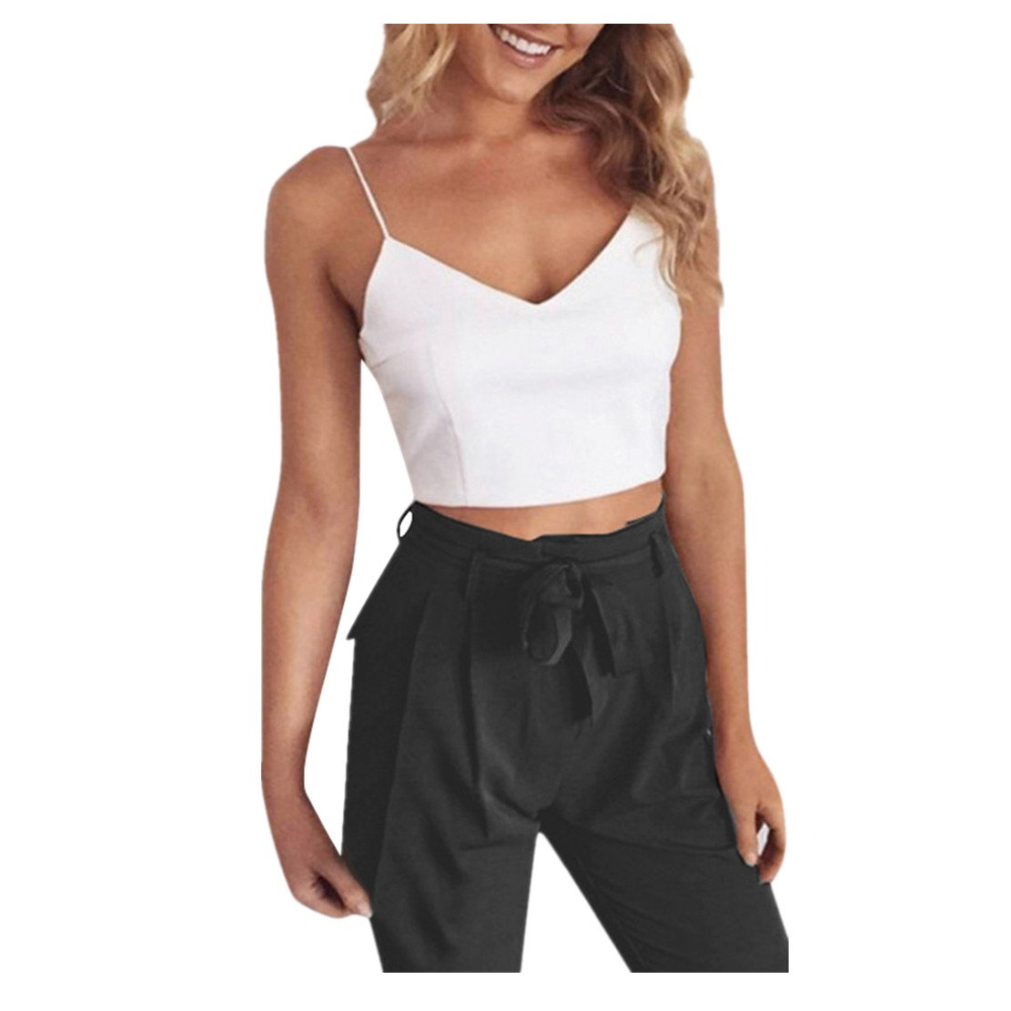 WEUIE Hot Sale Women 2 Piece Solid Sleeveless Sling Tank Elastic Zipper Band Belt Pants Set (M,Black)