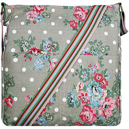 Miss LuLuPolka Dot Owl leaves Butterfly Ladies Cross Body Rainbow Strap Canvas Messenger School Shoulder Handbags Flower Grey