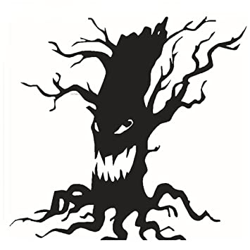 amazon com stilot spooky tree halloween vinyl art scary ghost face rh amazon com Spooky Halloween Clip Art Spooky Tree Sketch