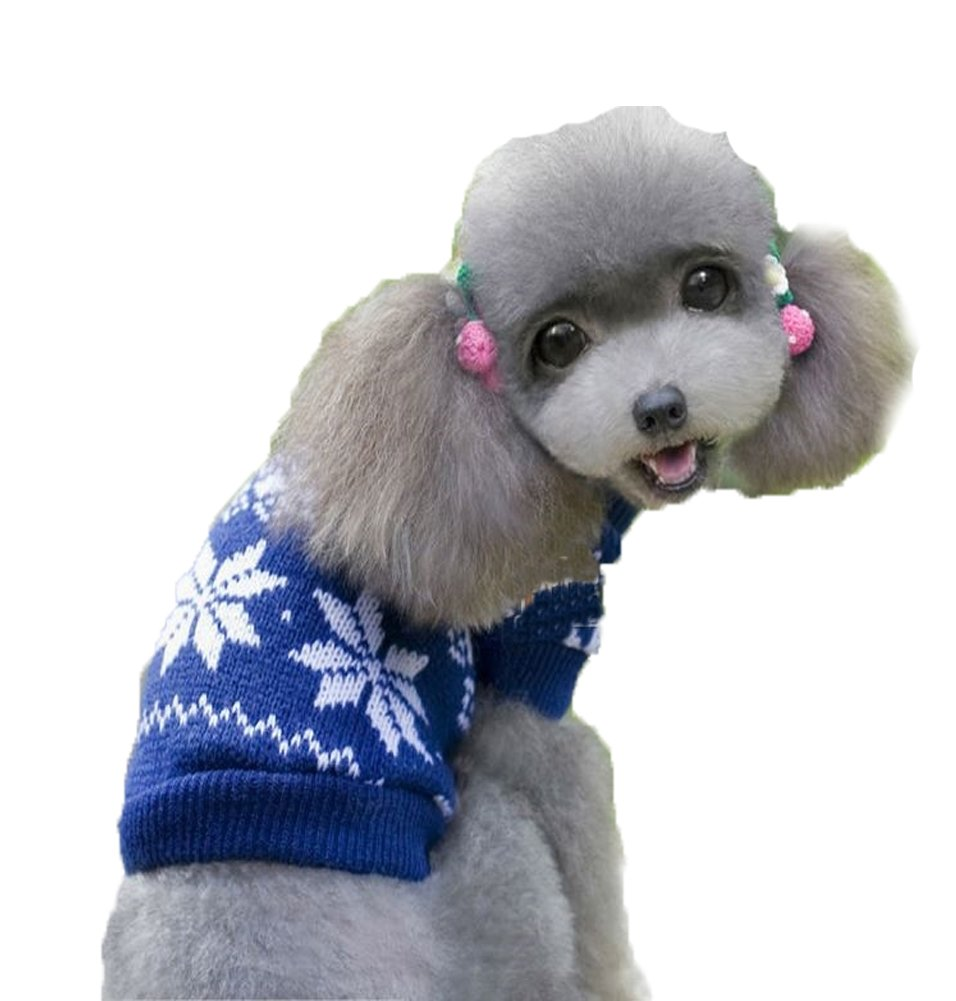 L Pet Dog Ugly Christmas Sweater bluee Holiday Winter Puppy Knitwear (L)