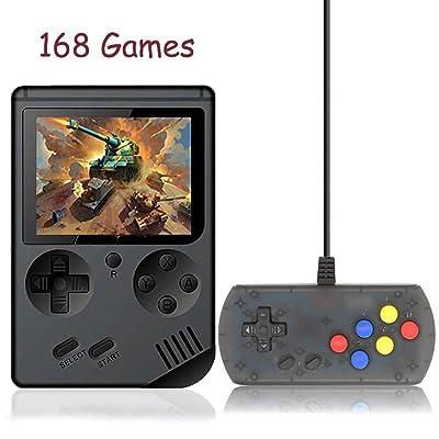 168 juegos Consola de juegos portátil retro, Kalolary FC Plus Joystick adicional Mini controlador portátil de 3 pulgadas Soporte para TV 2 Reproductor 168 Consola de juegos clásica, regalos para niños