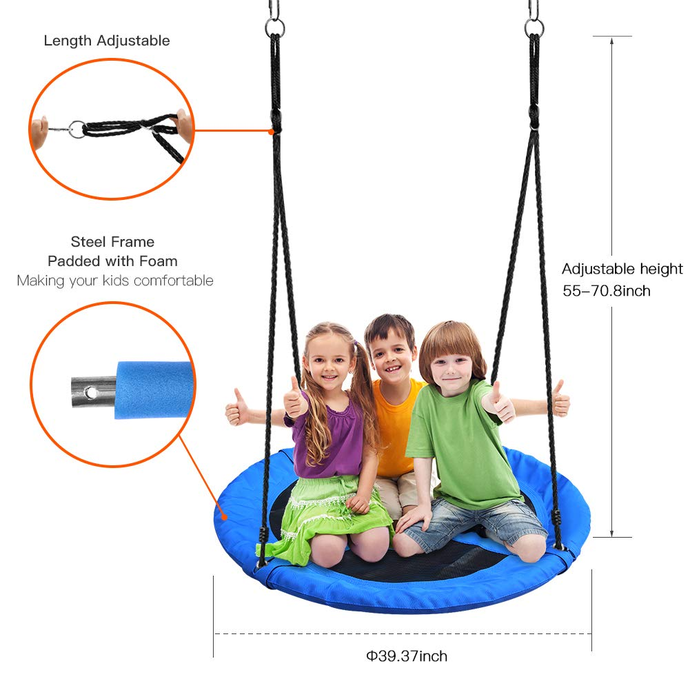 Tree Swing,Swing for Kids,40'' Large Round Outdoor Saucer Swing - 900D Oxford,500lbs Weight Capacity,2 Height Adjustable Straps & 2 Carabiners,Easy Installation - Ideal for Parties and Gifts by SilkRd (Image #5)