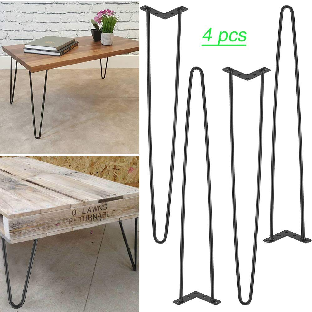 Nisorpa Vintage Furniture Legs 2 Rods Hairpin Legs with Rubber Stopper Industrial Table Legs Solid Iron Bar Heavy Duty 28inch Hair Pin Legs Desk Bench Support Legs for DIY Coffee Shop Living Room