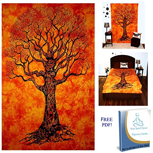 Your Spirit Space (TM) Orange Tree of Life Tapestry- Good Luck. Quality For Home or Dorms Psychedelic Hippie Contemporary Canvas Wall Hanging Art The Ultimate Bohemian Tapestry Decor
