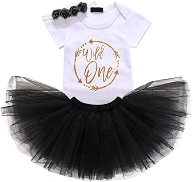 Baby Girls/' 1st Birthday Tutu Outfit Party Dress Set Romper Bow Skirt Cake Smash
