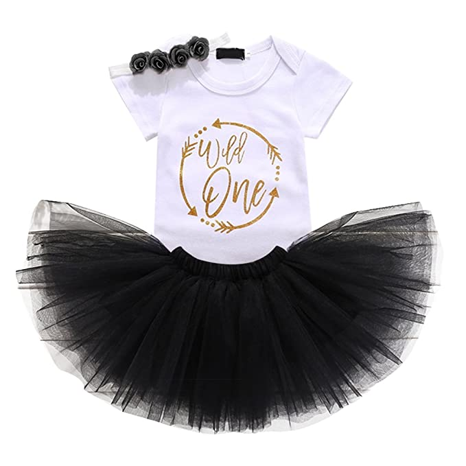 d4429446efc57 Baby Girl First Birthday Clothes 1st Crown Romper+Ruffle Tulle Skirt+Bow  Headband 3PCS Party Dress Set Smash Cake Outfit