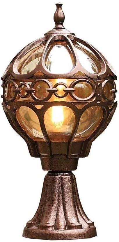 FCBUI Jardín Exterior esférica del bolardo Pilar de luz Tradicional Patio Porche IP55 a Prueba de Agua Columna de Aluminio de Cristal de la lámpara Exterior Jardín Patio Villa Puerta de Entrada de la
