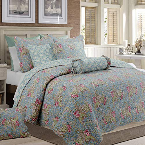 Cozy Line Home Fashions Kylie Quilt Bedding Set, Blue Pink Flower Floral Paisley Print Pattern 100% Cotton Reversible Coverlet Bedspread for Women (Teal Blue, Queen - 3 - Quilt Blue Floral