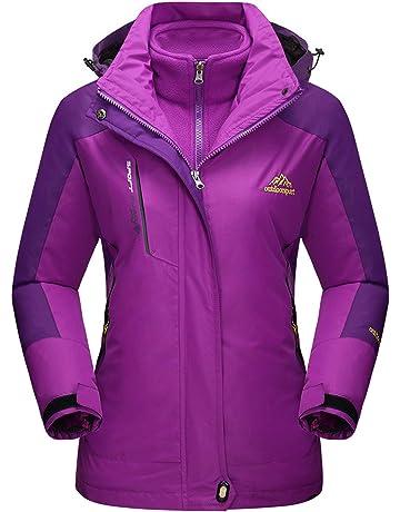 MAGCOMSEN Women s Outdoor 3-in-1 Water Resistant Skiing Snowboarding Jacket  Fleece Warm Raincoat d3b225b5d