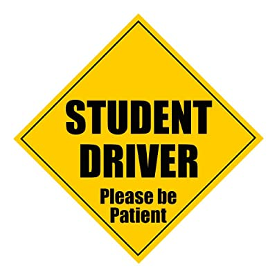 "Zone Tech Student Driver Please Be Patient 5"" X 5"" Magnet - Safety Caution Sign (1): Automotive"