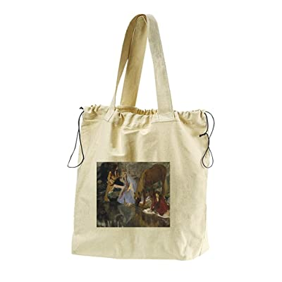 Portrait Of Mlle Fiocre (Degas) Canvas Drawstring Beach Tote Bag
