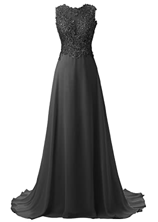Callmelady Chiffon Long Prom Dresses For Women Evening Gowns UK With Lace Appliques (Black,