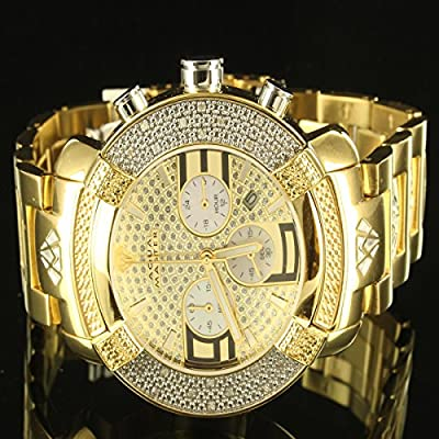 Aqua Master Diamond 14k Yellow Gold Finish 3 Dial Men Father Day Gift Watch JOJO from Aqua Master