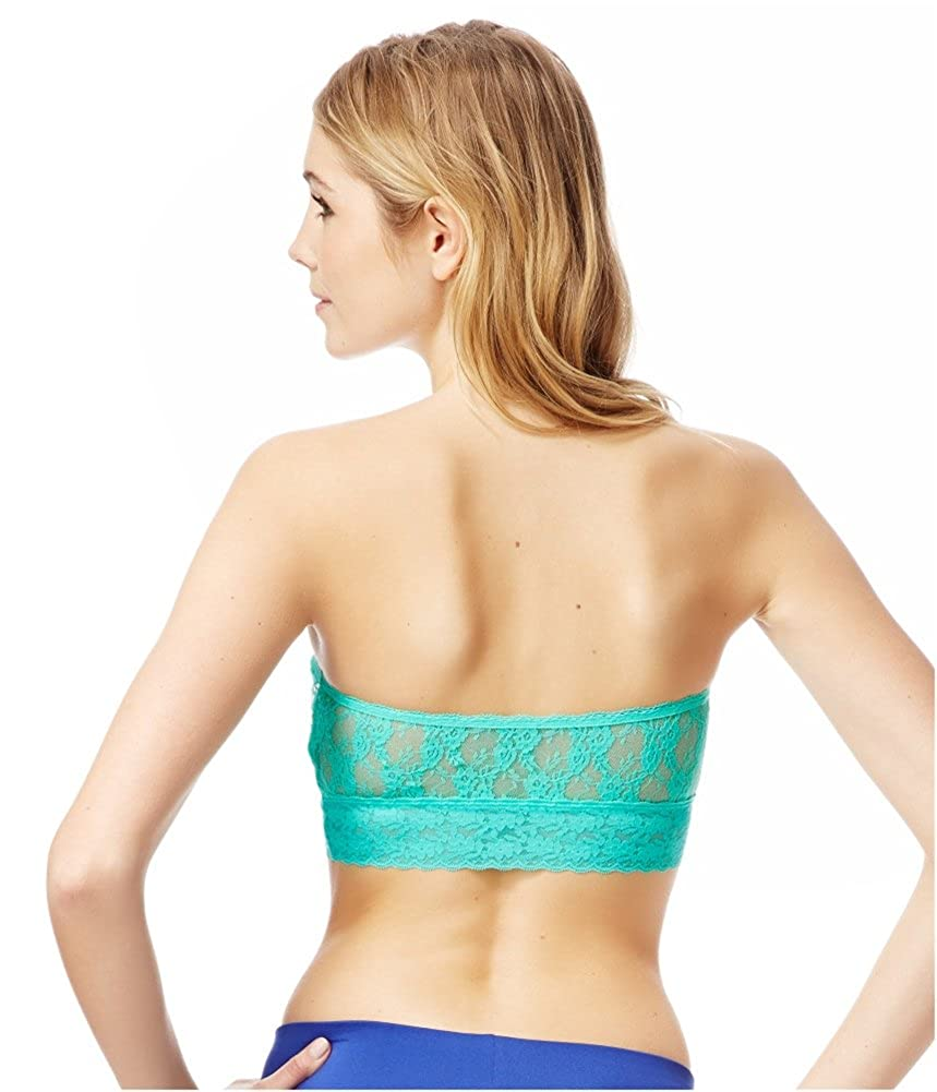 77a2766ab54cf Aeropostale Womens Lace Sequin Bandeau Bra Green S at Amazon Women s  Clothing store