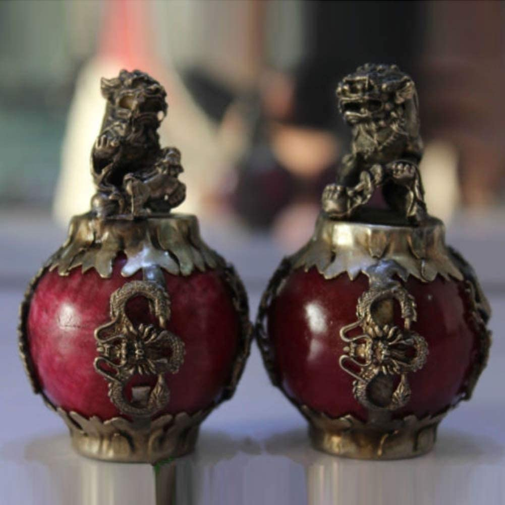 EASTCODE Tibet Silver Red Jade Dragon Phoenix Ball Foo Fu Dog Guardion Lion Pair Statue Collectible Old Handwork Copper Silver Bronze