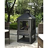 Crosley Furniture Monticello Enclosed Outdoor Fire Pit - Black