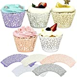 Haojiake 100 Lace Muffin Cupcake Wrappers Liners Cases 5 Colors Wedding Party Decorations