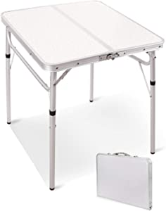 RedSwing Small Square Folding Table 2 Feet Adjustable Height, Lightweight and Portable Aluminum Camping Table for Outdoor Indoor Picnic, 24x24 Inches