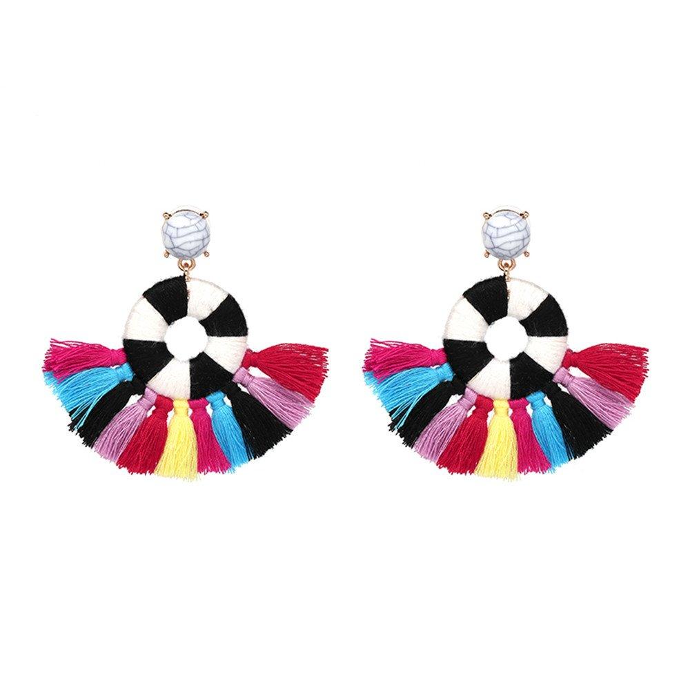 Women's Beaded Tassel Earrings Long Fringe Drop Bohemian Earings Dangle 7 Colors (Style 2 Rainbow Christmas)