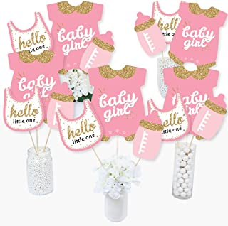 product image for Hello Little One - Pink and Gold - Girl Baby Shower Party Centerpiece Sticks - Table Toppers - Set of 15