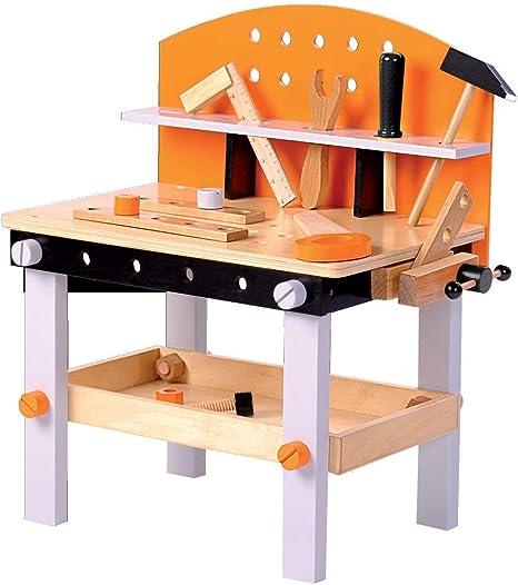 Tiktaktoo Werkbank Kinder Aus Holz Fsc 100 Kinderwerkbank Ist 14 Teilig Und Inkl Kinderwerkzeug Spielzeug Fur Kinder Ab 3 Jahren Geeignet Amazon De Spielzeug