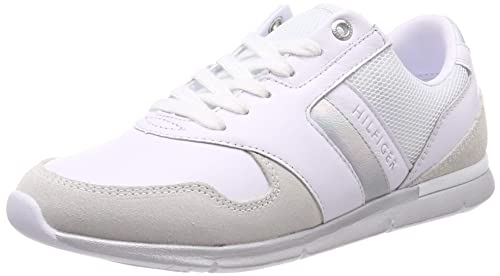 239b5f7fd Tommy Hilfiger Women's Iridescent Light Sneaker Low-Top (White-Silver 902),