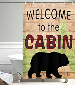 Camper RV Shower Curtains for Bathroom, Farmhouse Camping Black Bear for Cabin Fabric Shower Curtain Accessories for Travel Trailers, Happy Camp Decorations Bathroom Set Decor Hooks Included,47X64in